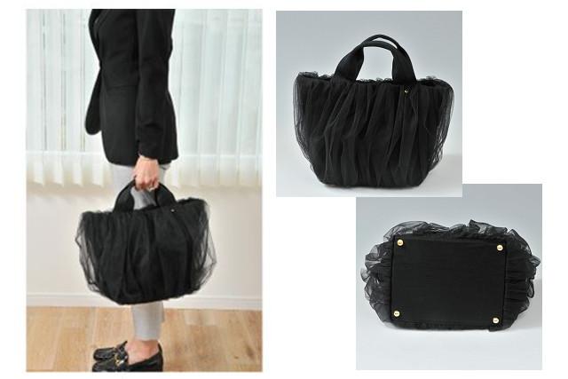 オンラインショップで通勤バッグを購入するなら、大人可愛いチュールのレース生地が人気のバッグ
